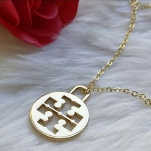 """18"""" Tory Burch Logo Charm on Gold Plated Necklace"""